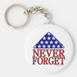 Folded USA Flag-Never Forget Basic Round Button Keychain