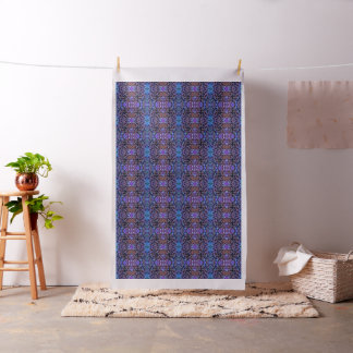 Foliage Abstract In Blue and Lilac Tones Fabric