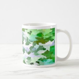 Foliage Abstract In Green and Mauve Coffee Mug