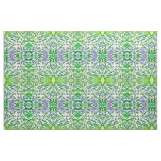 Foliage Abstract In Green and Mauve Fabric