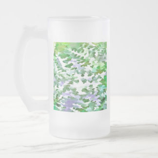 Foliage Abstract In Green and Mauve Frosted Glass Beer Mug