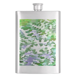 Foliage Abstract In Green and Mauve Hip Flask