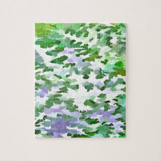 Foliage Abstract In Green and Mauve Jigsaw Puzzle