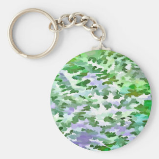 Foliage Abstract In Green and Mauve Keychain