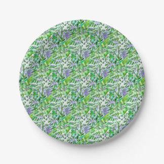 Foliage Abstract In Green and Mauve Paper Plate