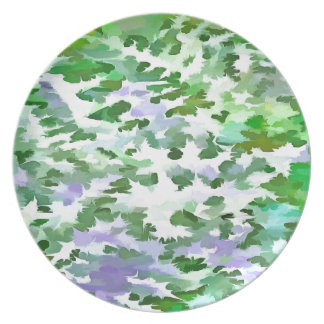 Foliage Abstract In Green and Mauve Plate