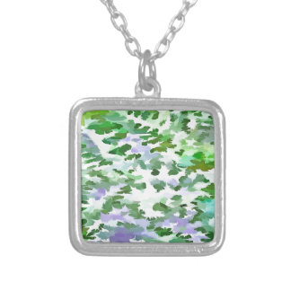 Foliage Abstract In Green and Mauve Silver Plated Necklace