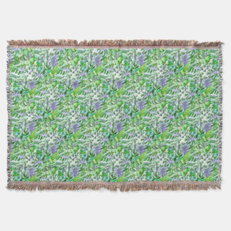 Foliage Abstract In Green and Mauve Throw Blanket