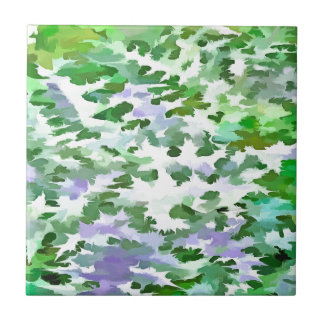 Foliage Abstract In Green and Mauve Tile