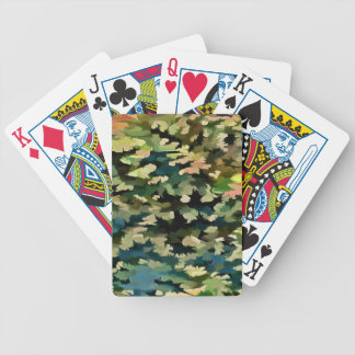Foliage Abstract In Green, Peach and Phthalo Blue Bicycle Playing Cards
