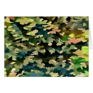 Foliage Abstract In Green, Peach and Phthalo Blue Card