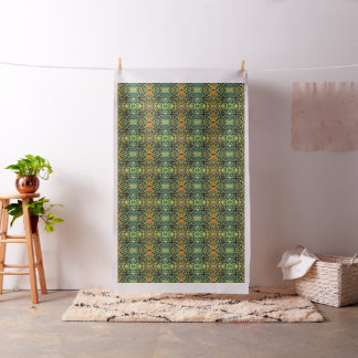Foliage Abstract In Green, Peach and Phthalo Blue Fabric