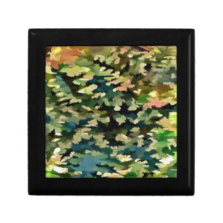 Foliage Abstract In Green, Peach and Phthalo Blue Gift Box