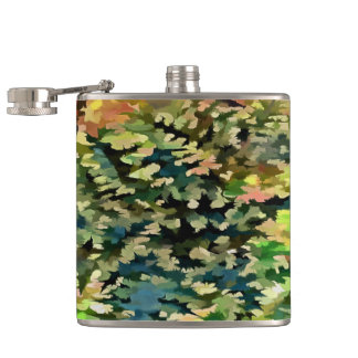 Foliage Abstract In Green, Peach and Phthalo Blue Hip Flask