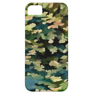 Foliage Abstract In Green, Peach and Phthalo Blue iPhone 5 Cases