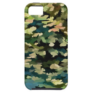 Foliage Abstract In Green, Peach and Phthalo Blue iPhone 5 Cover