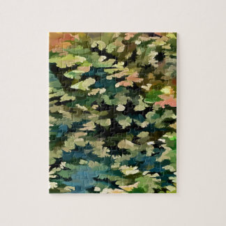 Foliage Abstract In Green, Peach and Phthalo Blue Jigsaw Puzzle