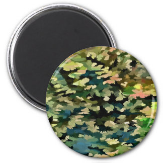 Foliage Abstract In Green, Peach and Phthalo Blue Magnet