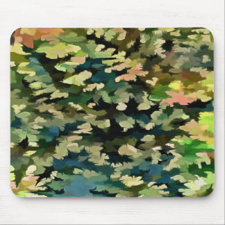 Foliage Abstract In Green, Peach and Phthalo Blue Mouse Pad