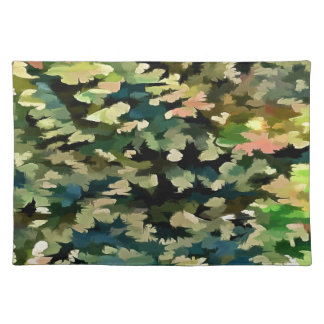Foliage Abstract In Green, Peach and Phthalo Blue Placemat