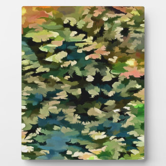 Foliage Abstract In Green, Peach and Phthalo Blue Plaque