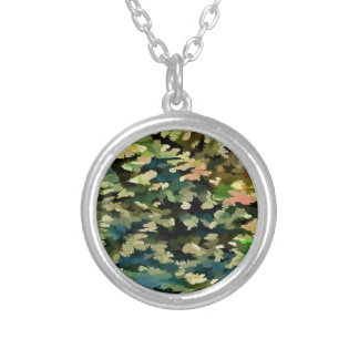 Foliage Abstract In Green, Peach and Phthalo Blue Silver Plated Necklace