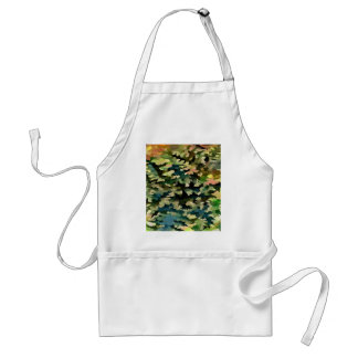 Foliage Abstract In Green, Peach and Phthalo Blue Standard Apron