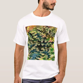 Foliage Abstract In Green, Peach and Phthalo Blue T-Shirt