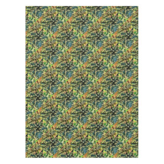 Foliage Abstract In Green, Peach and Phthalo Blue Tablecloth