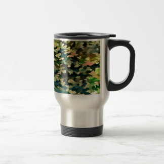 Foliage Abstract In Green, Peach and Phthalo Blue Travel Mug