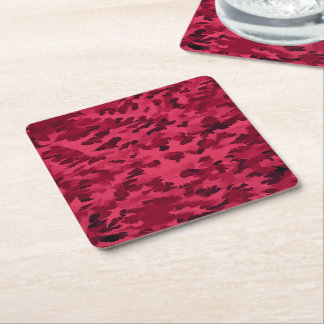 Foliage Abstract Pop Art Blush Red Square Paper Coaster