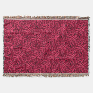 Foliage Abstract Pop Art Blush Red Throw Blanket