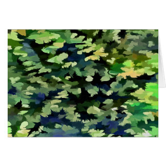 Foliage Abstract Pop Art In Green and Blue Card