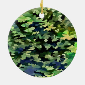 Foliage Abstract Pop Art In Green and Blue Ceramic Ornament