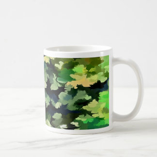 Foliage Abstract Pop Art In Green and Blue Coffee Mug
