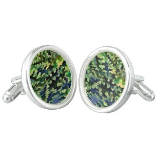 Foliage Abstract Pop Art In Green and Blue Cufflinks