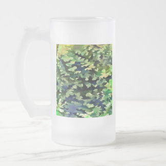 Foliage Abstract Pop Art In Green and Blue Frosted Glass Beer Mug