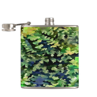 Foliage Abstract Pop Art In Green and Blue Hip Flask
