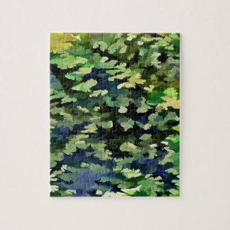 Foliage Abstract Pop Art In Green and Blue Jigsaw Puzzle