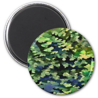 Foliage Abstract Pop Art In Green and Blue Magnet