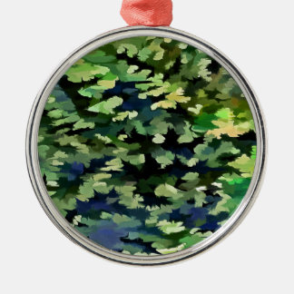 Foliage Abstract Pop Art In Green and Blue Metal Ornament