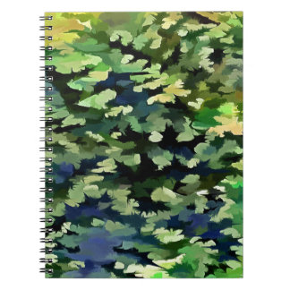 Foliage Abstract Pop Art In Green and Blue Notebook