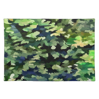 Foliage Abstract Pop Art In Green and Blue Placemat