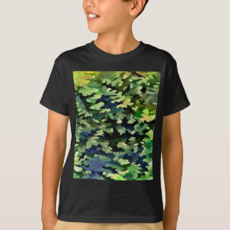 Foliage Abstract Pop Art In Green and Blue T-Shirt