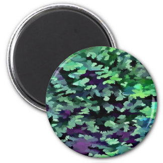 Foliage Abstract Pop Art In Jade Green and Purple. 2 Inch Round Magnet