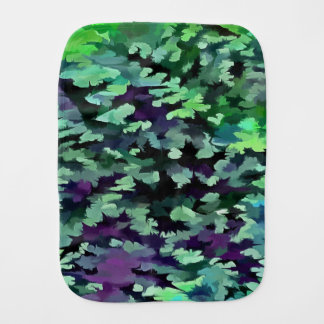Foliage Abstract Pop Art In Jade Green and Purple. Burp Cloth