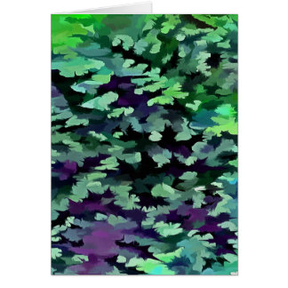 Foliage Abstract Pop Art In Jade Green and Purple. Card