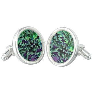 Foliage Abstract Pop Art In Jade Green and Purple. Cuff Links