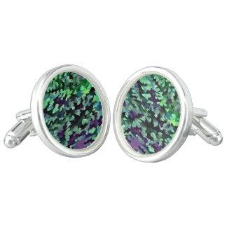 Foliage Abstract Pop Art In Jade Green and Purple. Cufflinks