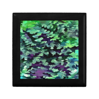 Foliage Abstract Pop Art In Jade Green and Purple. Gift Box